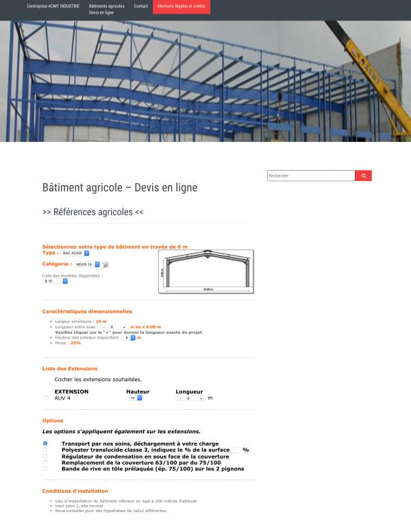 Site ACMT AGRIKIT - Devis en ligne