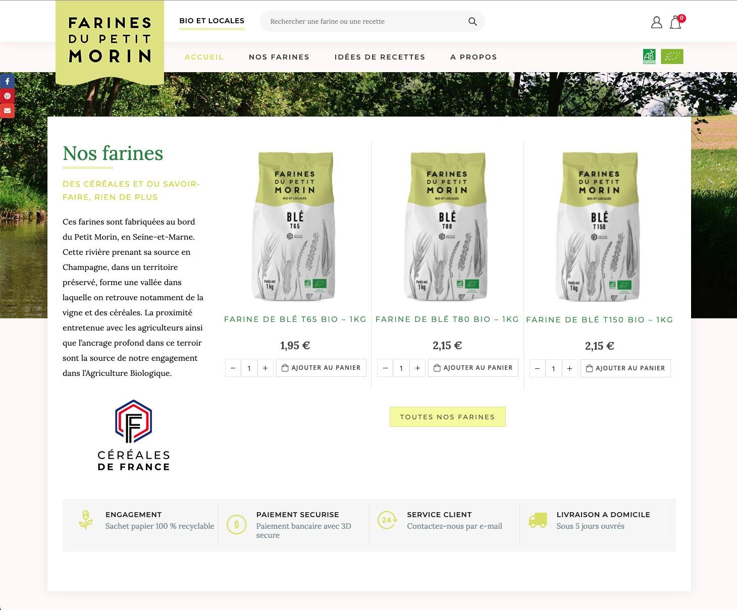 Site e-commerce FarinesduPetitMorin.com